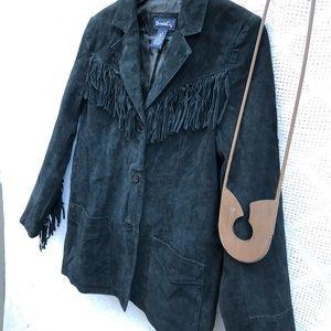 Denim&Co Jackets & Coats - Denim & Co. Suede Jacket Fringe Black